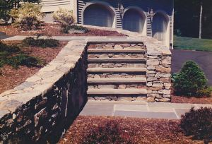 Stone stairs and stone wall, MetroWest Boston