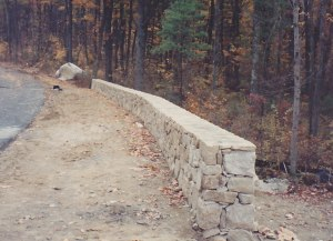 Stone wall in Hopkinton, Massachusetts by Don Nyren Masonry.
