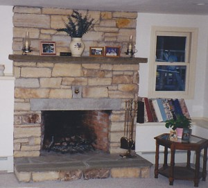 Stone fireplace in Uxbridge, Massachusetts.