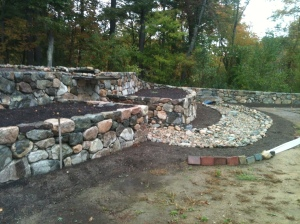 Stone wall in Medfield, Massachusetts by Don Nyren Masonry.
