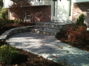 Brick and granite walkway and steps in Medfield, Massachusetts.