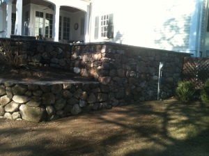 Stone wall by Don Nyren Masonry in Wellesley, Massachusetts.
